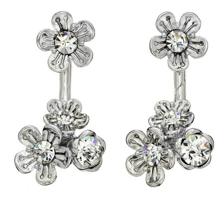 X & O Handset Austrian Crystal Rhodium-Plated Front and Back Cluster Rose Earrings