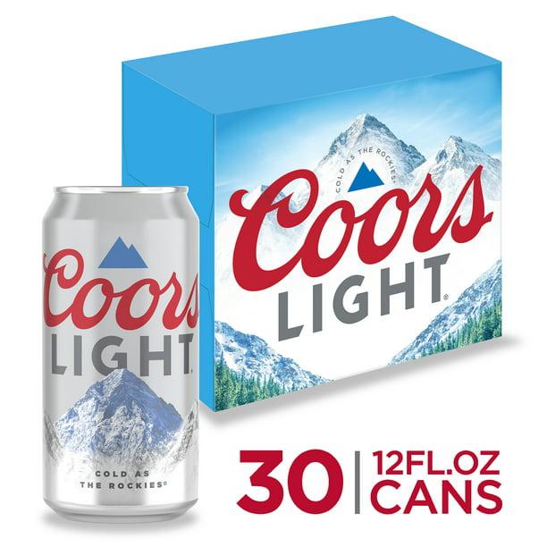 Coors Light Beer Light Lager Beer 30 Pack Beer 12 Fl Oz Cans 4 2 Abv Walmart Com Walmart Com