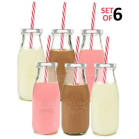 Estilo Dairy Reusable Glass Milk Bottles With Straws And Metal Screw On Lids, 10.5 oz, Set of 6, (Glass Milk)