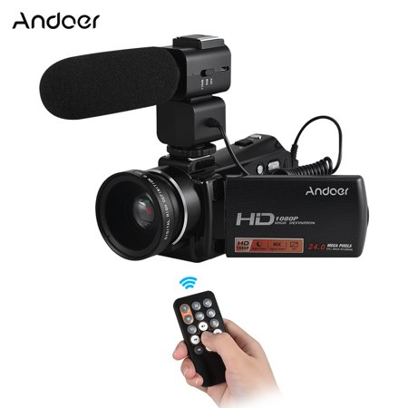 "Andoer HDV-V7 PLUS 1080P Full HD 24MP Portable Digital Video Camera Camcorder Remote Control Infrared Night Vision Recorder 16X Zoom 3.0"" Rotary LCD + External Microphone + 0.45X Wide Angle Lens"