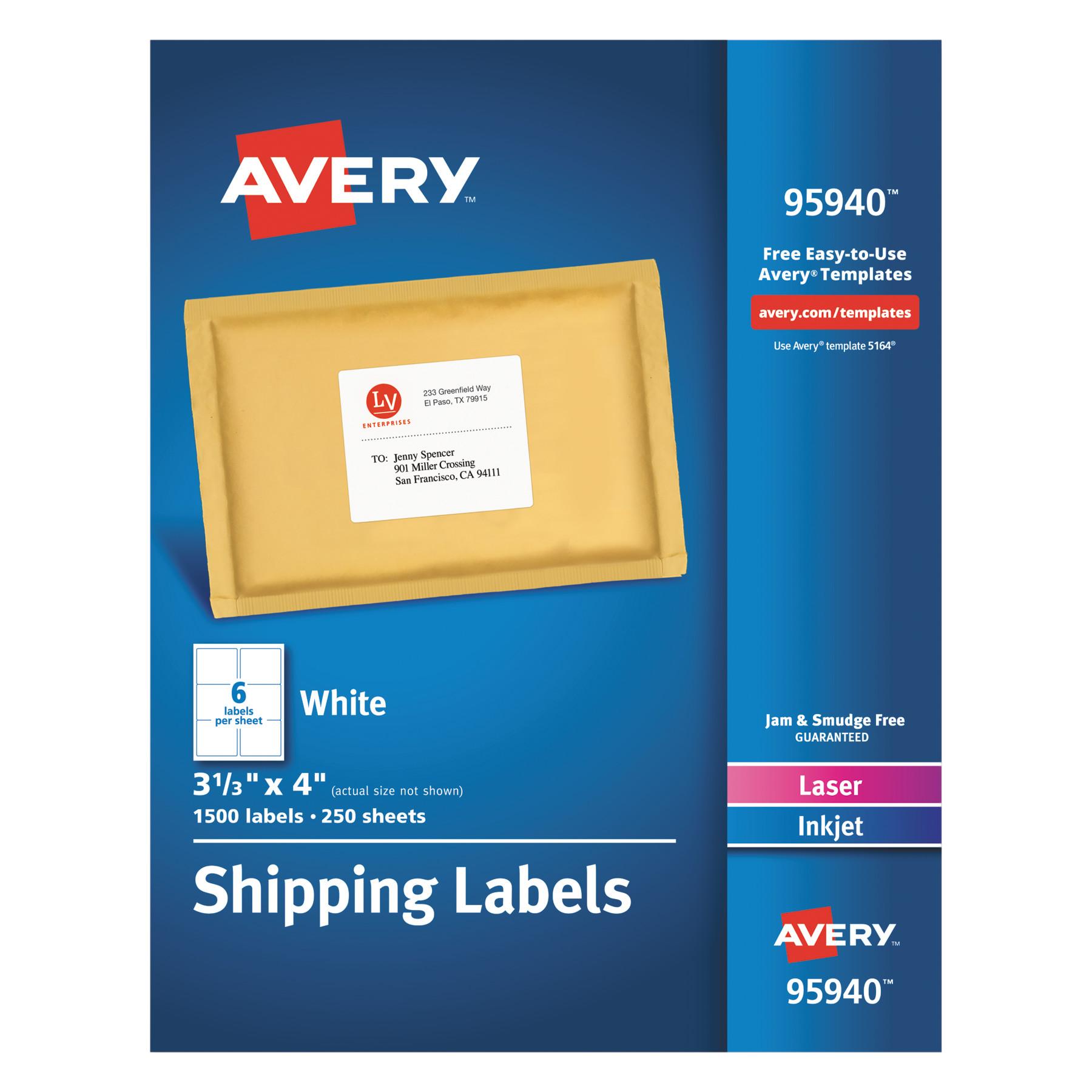 Avery White Shipping Labels, Inkjet/Laser, 3 1/3 x 4, White, 1500/Box