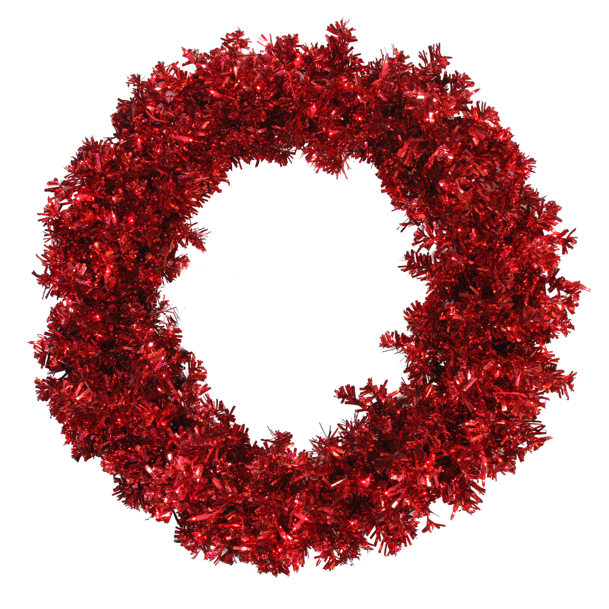 "Vickerman 36"" Prelit Red Hot Wide Cut Tinsel Artificial Christmas Wreath - Red Lights"
