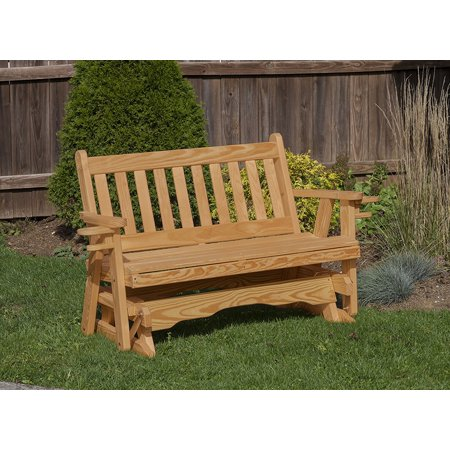 Outdoor Garden Lawn Exterior 4 Ft Brown Finish Amish Heavy Duty 800 Lb Mission Kiln-Dried Pine Porch Glider With Cup - Amish Pine Corner