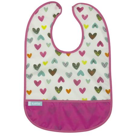 Kushies Girl - Kushies Cleanbib 12M+ Girl White Doodle Hearts