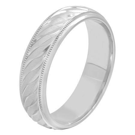 Men's 6MM Sterling Silver Swirl Pattern Ring – Mens Wedding Band ()