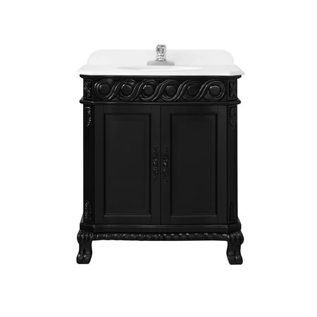 OVE Decors Trent 30 in. Antique Black Single Sink Bathroom Vanity with White Cultured Marble Top