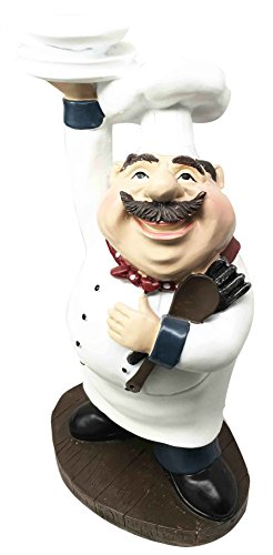 Master Chef Rubio Italian Bistro Holding Plates Utensils Kitchen Decor Figurine Statue by Gifts & Decors