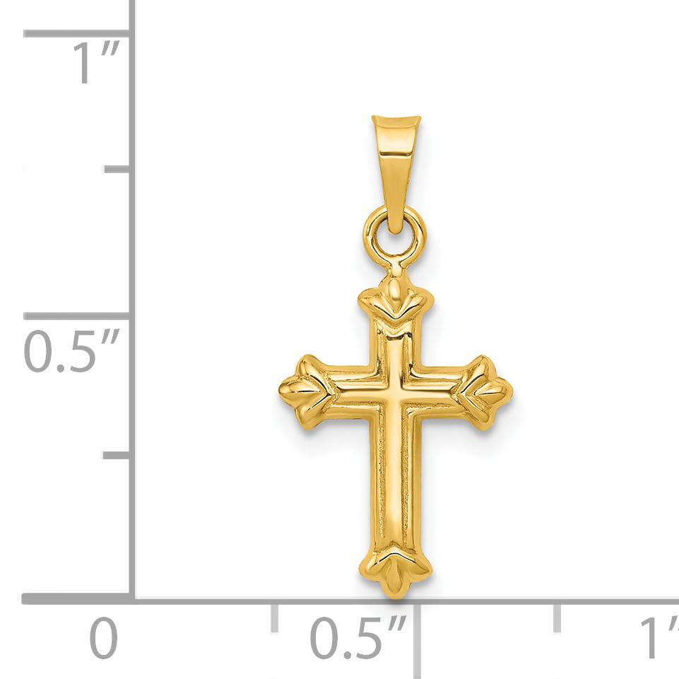 14k Yellow Gold Religious Cross Pendant Charm American Set Co