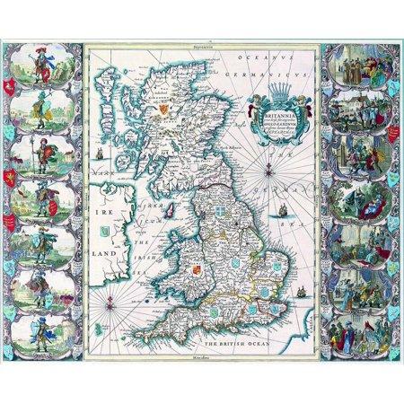 Canvas Print Harta Antica Anglia 4 Stretched Canvas 10 X 14