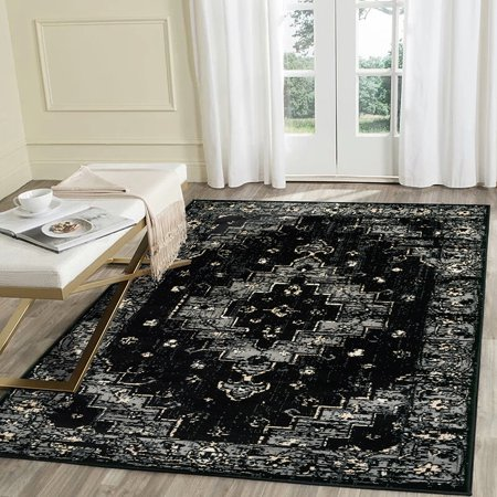 Black Border Rug (LR Home Infinity 8x10 Gray Black Geometric Medallion Distressed Border Persian Indoor Area)