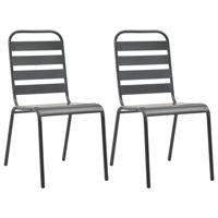 vidaXL Stackable Outdoor Chairs 2 pcs Steel Gray