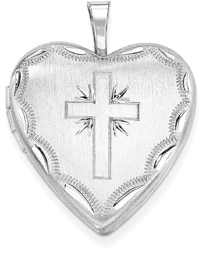 ICE CARATS ICE CARATS 925 Sterling Silver 20mm Cross Religious Heart Photo Pendant Charm Locket Chain Necklace That... by IceCarats Designer Jewelry Gift USA