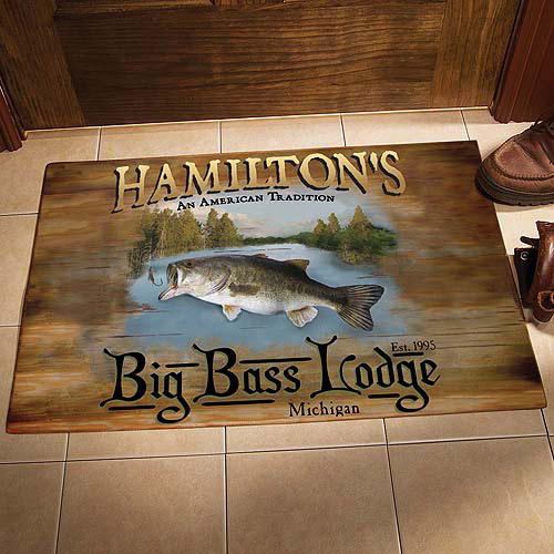 Personalized Big Bass Lodge Doormat