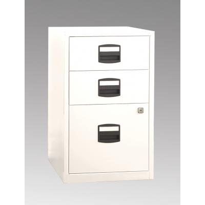 Bisley Three Drawer Steel Home Filing Cabinet, White BDSFILE3WH by Bindertek