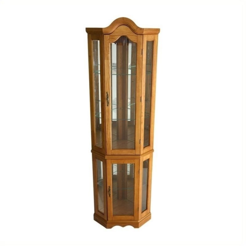 Pemberly Row Lighted Corner Curio Cabinet in Golden Oak by Pemberly Row