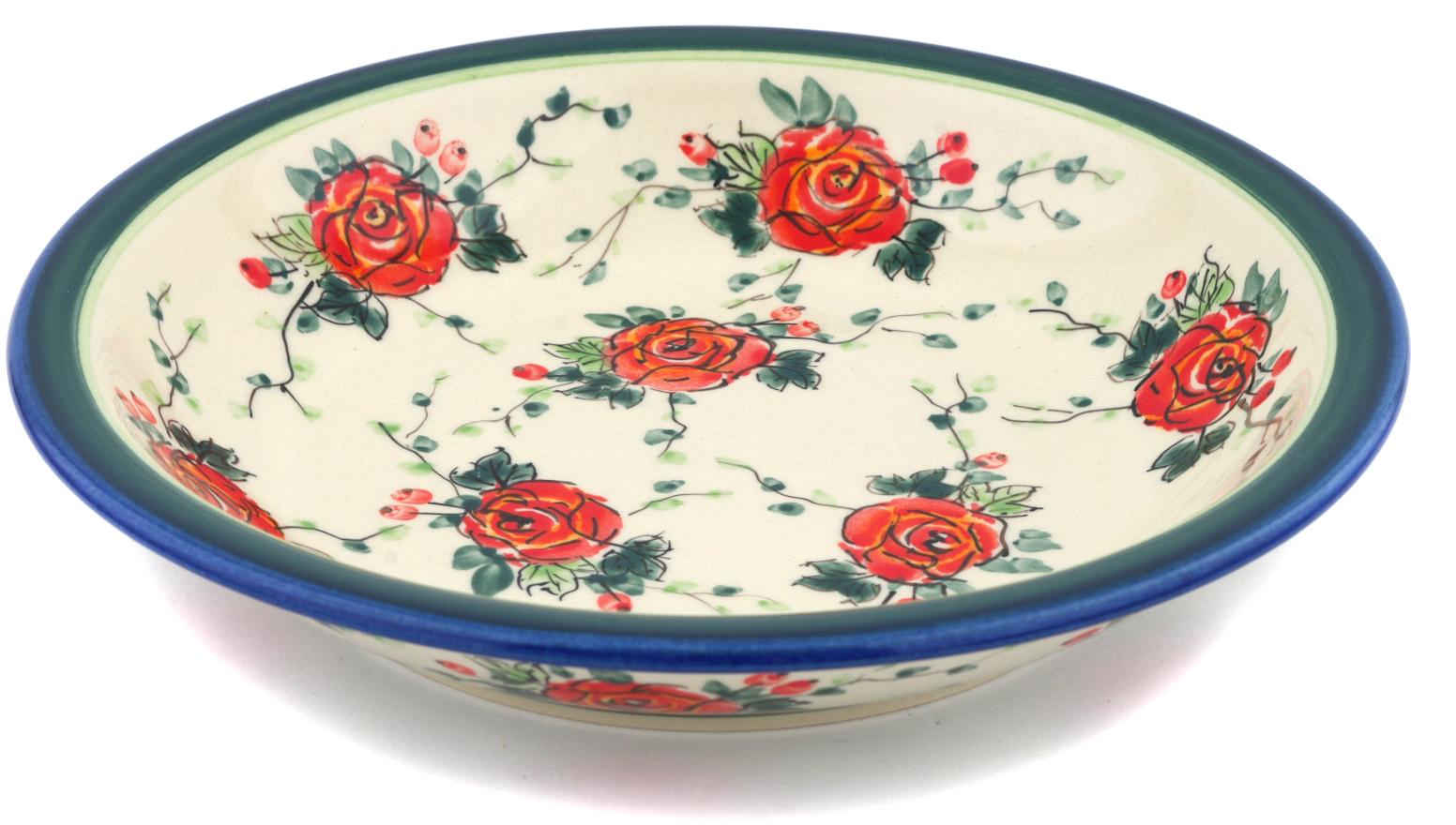 Polish Pottery 9-inch Pasta Bowl (Polish Roses Theme) Signature UNIKAT Hand Painted in Boleslawiec, Poland +... by Zaklady Ceramiczne