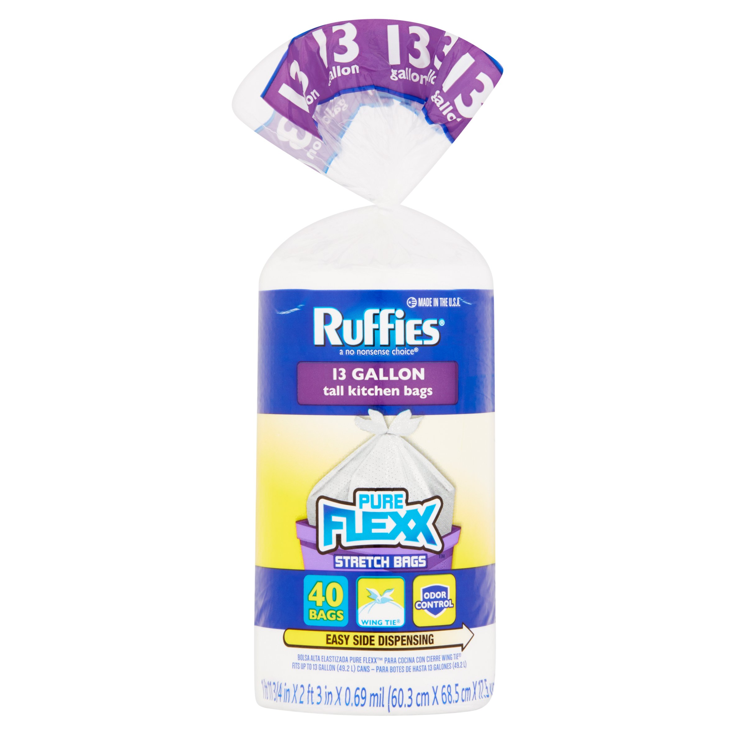 Ruffies 13 Gallon Tall Kitchen Bags, 40 count