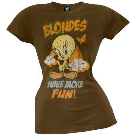 Tweety Bird - Blondes Have More Fun Juniors T-Shirt (Tweety Bird Halloween Wallpaper)