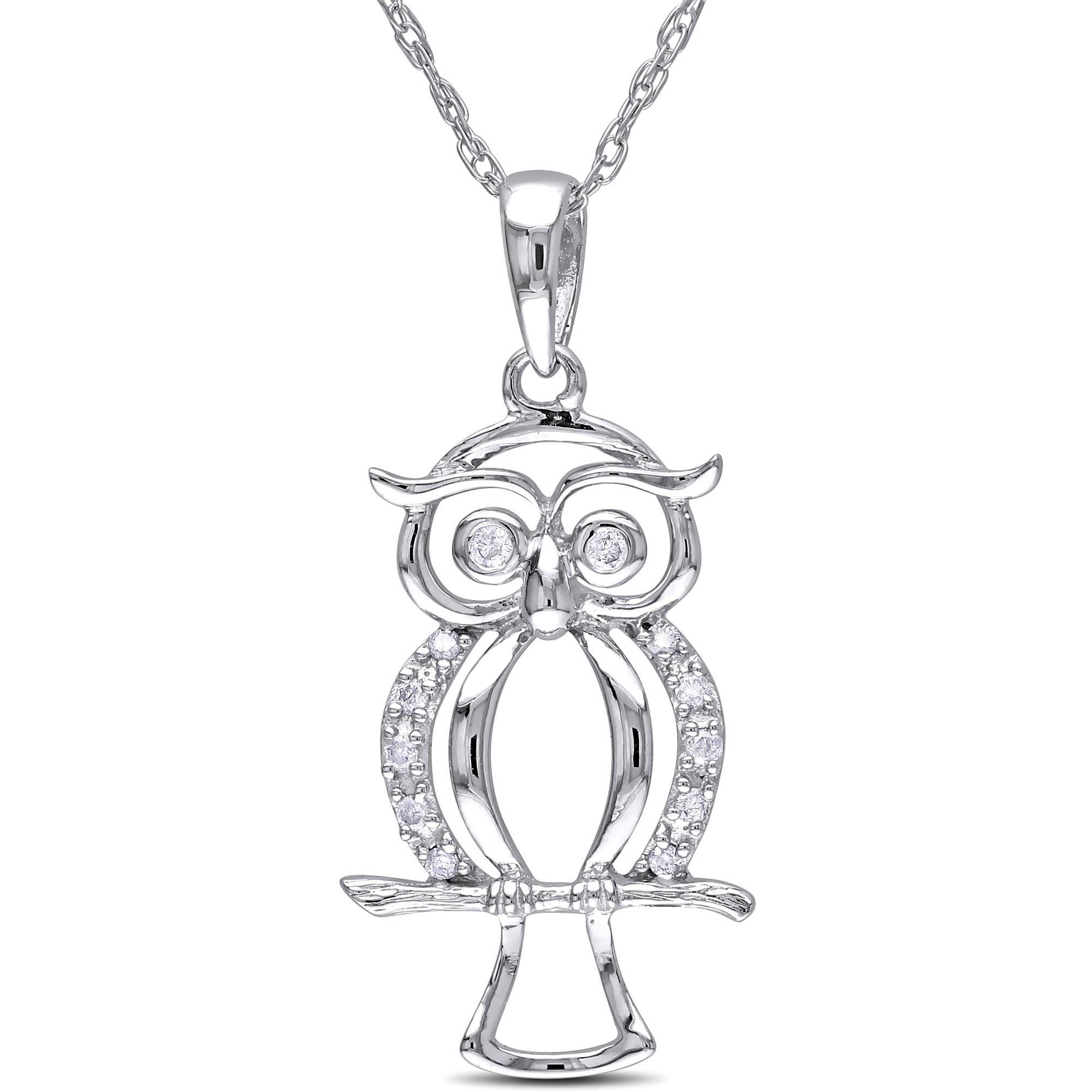 Miabella Diamond-Accent 10kt White Gold Owl Pendant, 17