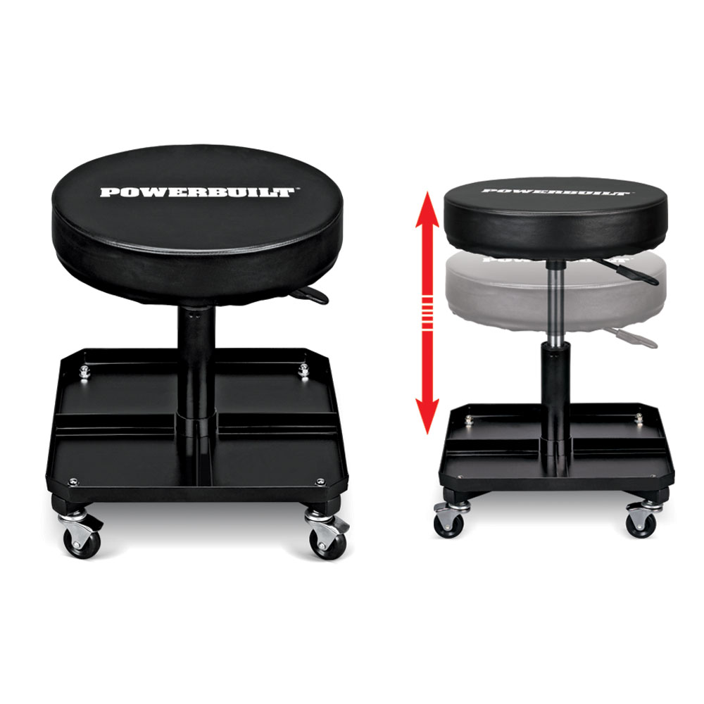 Powerbuilt Pneumatic Height-Adjustable Roller Seat with Tool Tray, 640834