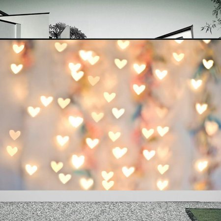 5X7FT Love Heart Light Photography Backdrops Vinyl Fabric Studio Photo Video Background Screen Curtain Props Christmas Valentine's Day Background ()