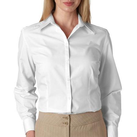 Van Heusen V0114 Ladies Long Sleeve Silky Poplin  White 2X Large