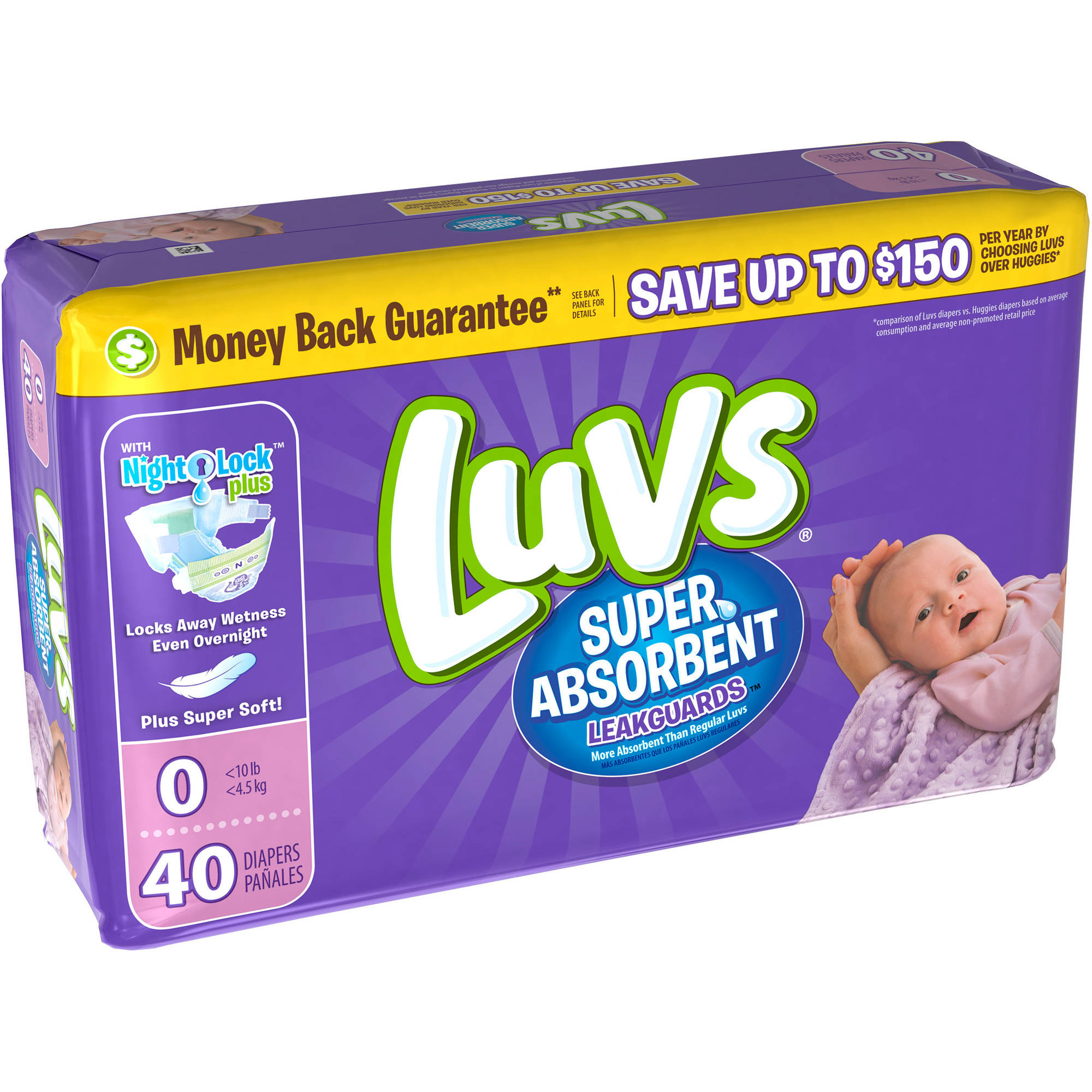 Luvs Super Absorbent Leakguards Diapers, Size Newborn, 40 Diapers