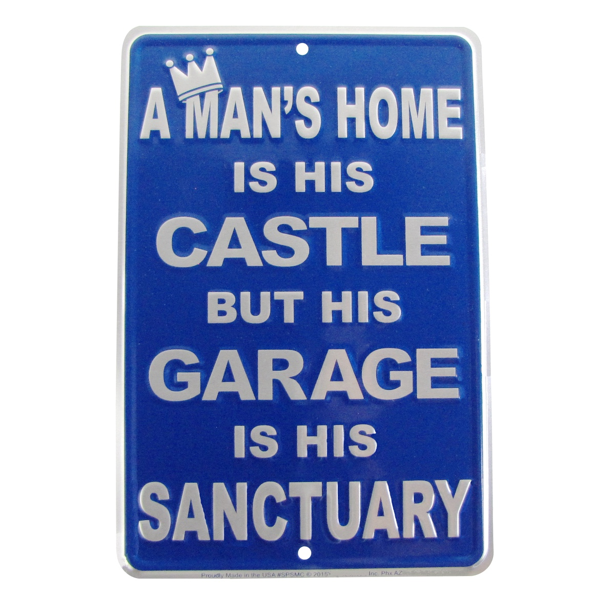 A Mans Garage Is His Sanctuary Funny Embossed Tin Sign Auto Shop/Home Wall Decor