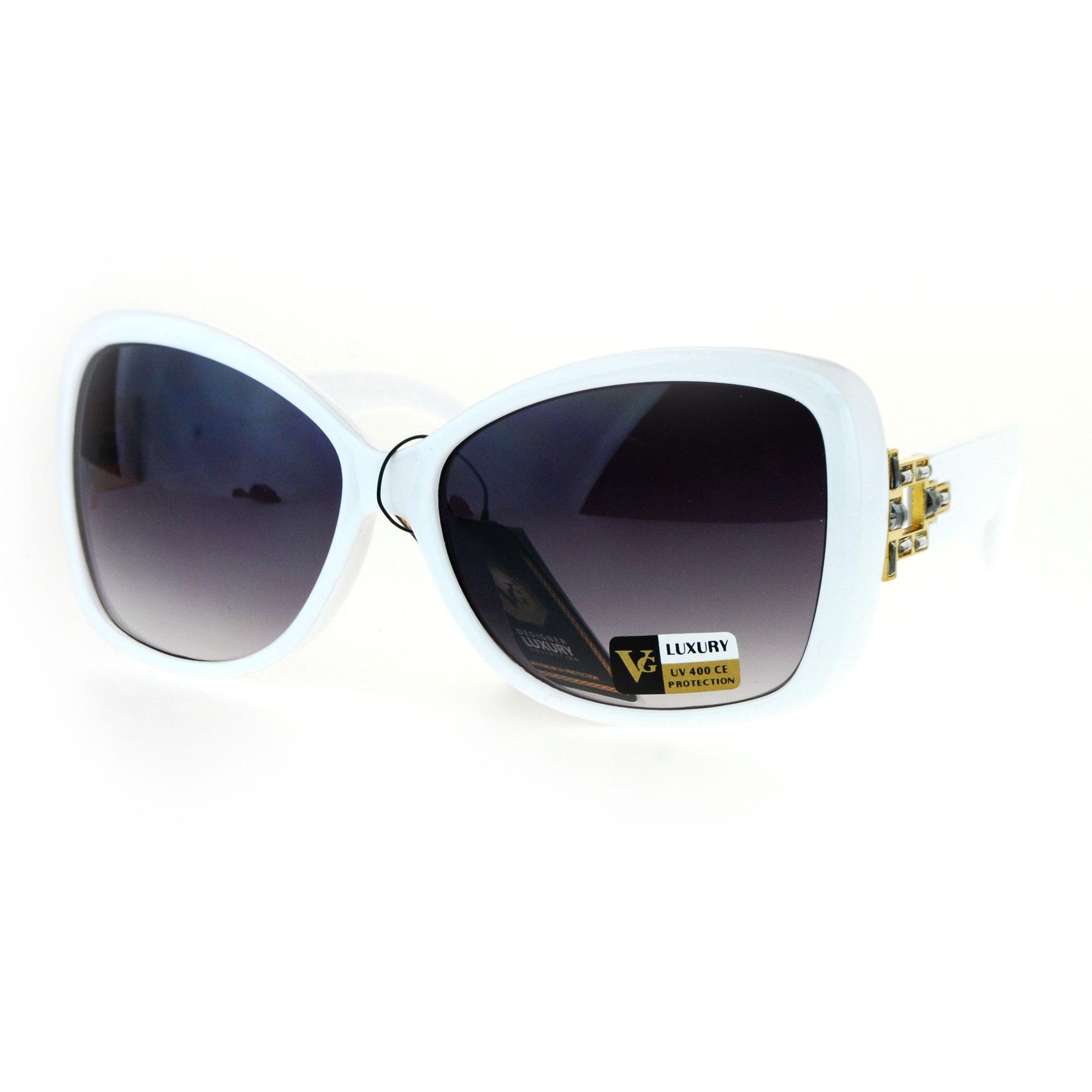 Art Nouveau Deco Rhinestone Bling Iced Butterfly Diva Sunglasses White Smoke