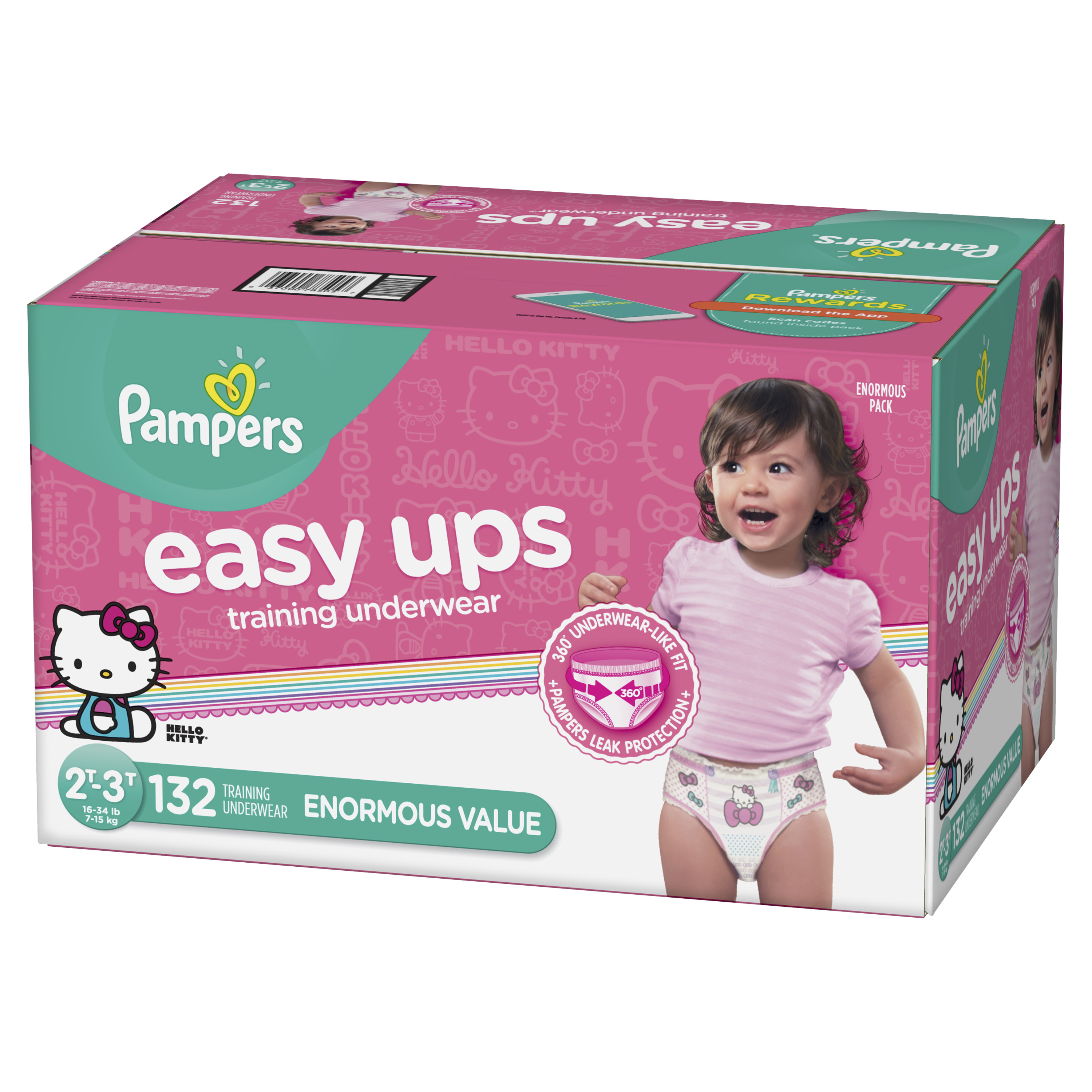 Pampers Easy Ups Training Underwear Girls Size 4 2T-3T 132 Count