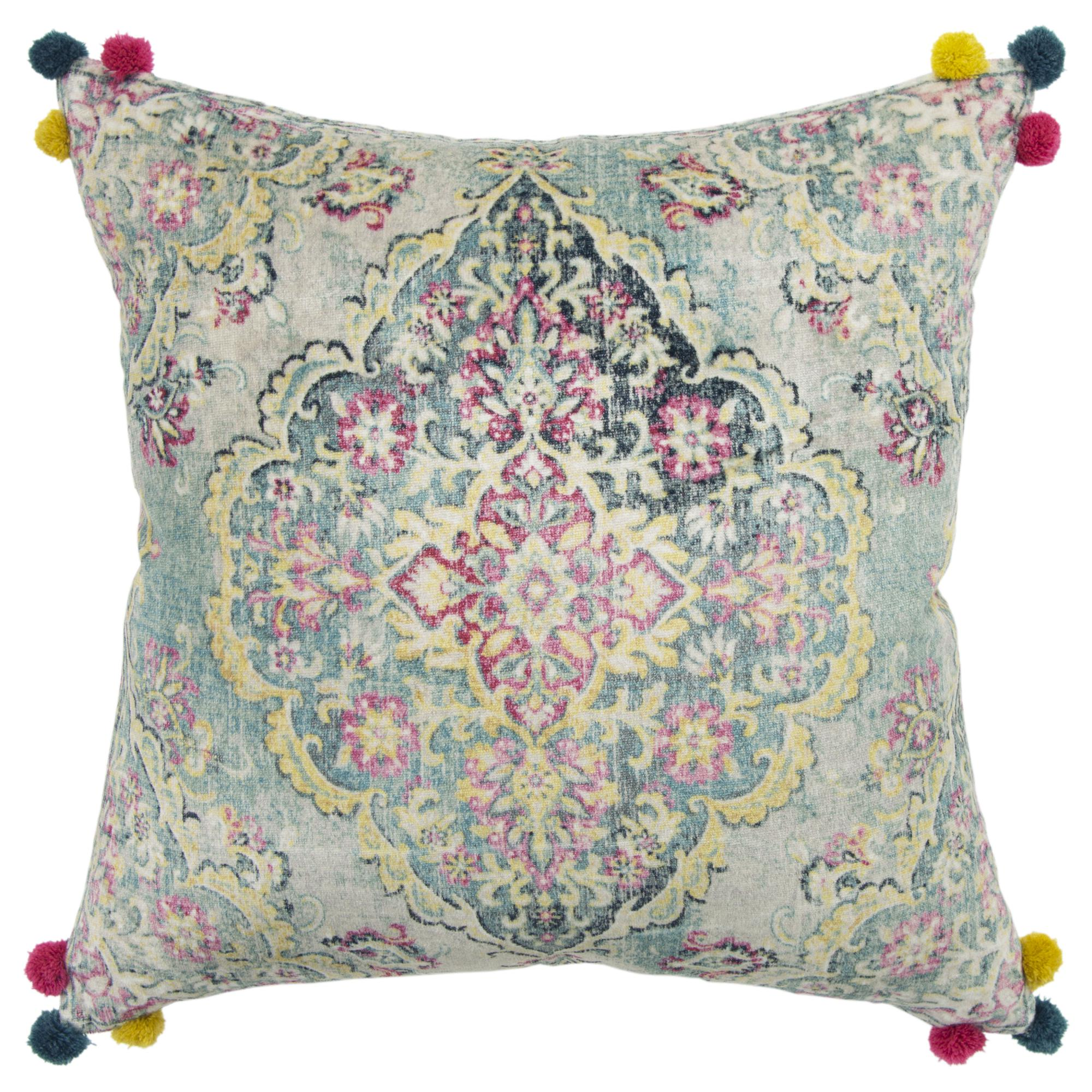 "Rizzy Home Decorative Poly Filled Throw Pillow Medallion 20""X20"" Pink"