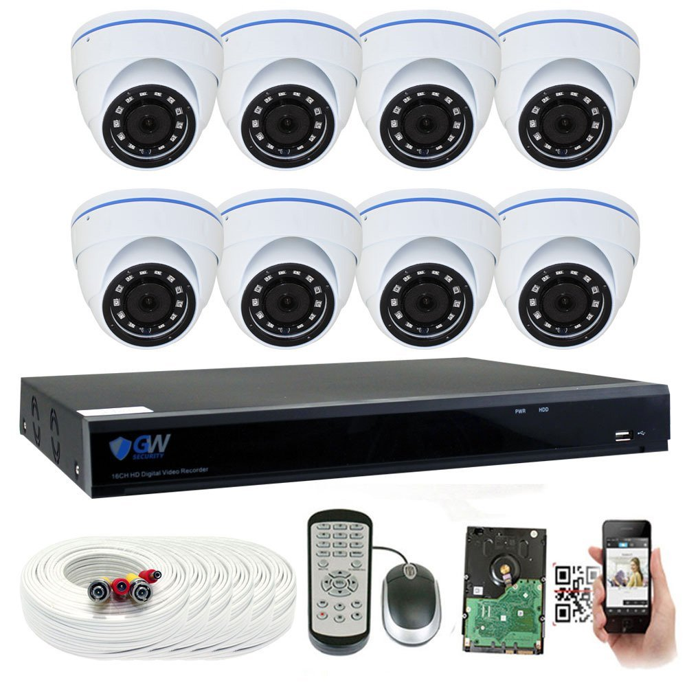 GW 8 Channel 5 Megapixel 1920P Home Security Camera System with 8 x HD 5MP Security Cameras,2TB HDD