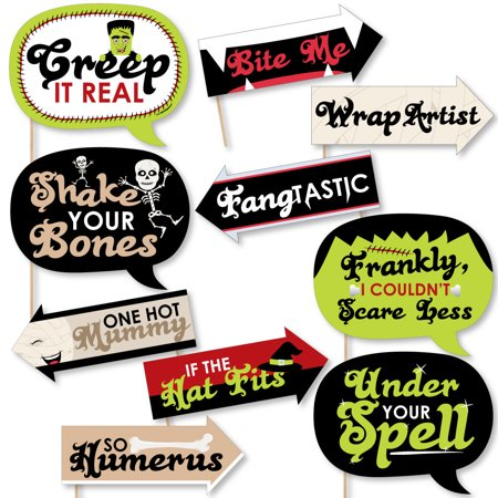 Funny Halloween Monsters - Halloween Party Photo Booth Props Kit - 10 Piece