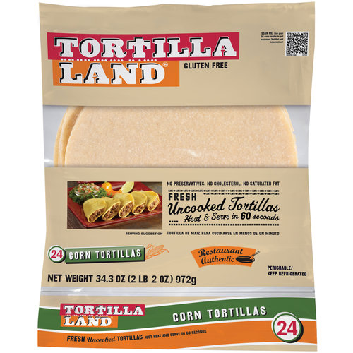 TortillaLand Uncooked Corn Tortillas, 24 ct