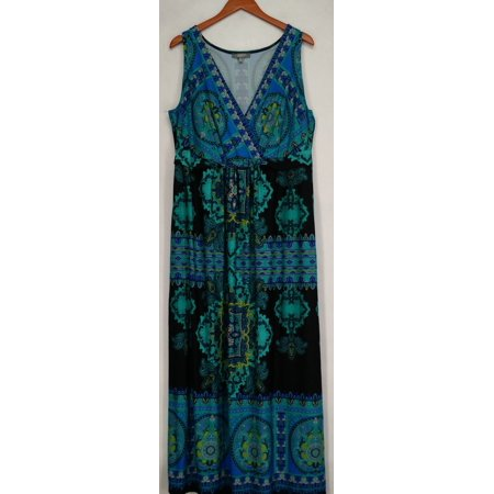 4d455722da7cd NY Collection - NY Collection Plus Size Dress 2X Medallion Print Maxi Multi  Blue New - Walmart.com