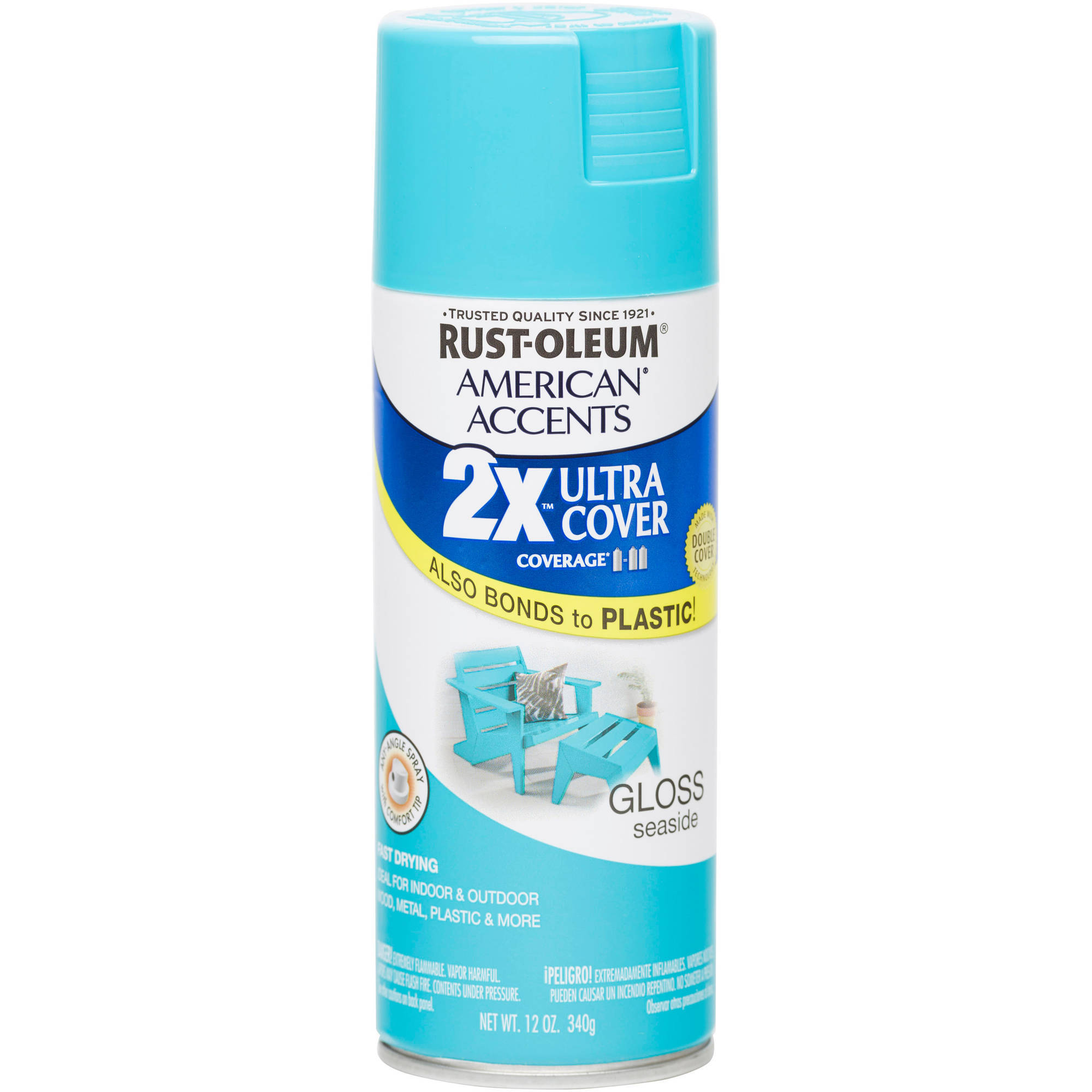 Rust-Oleum American Accents Ultra Cover 2X Gloss Seaside Spray Paint and Primer in 1, 12 oz