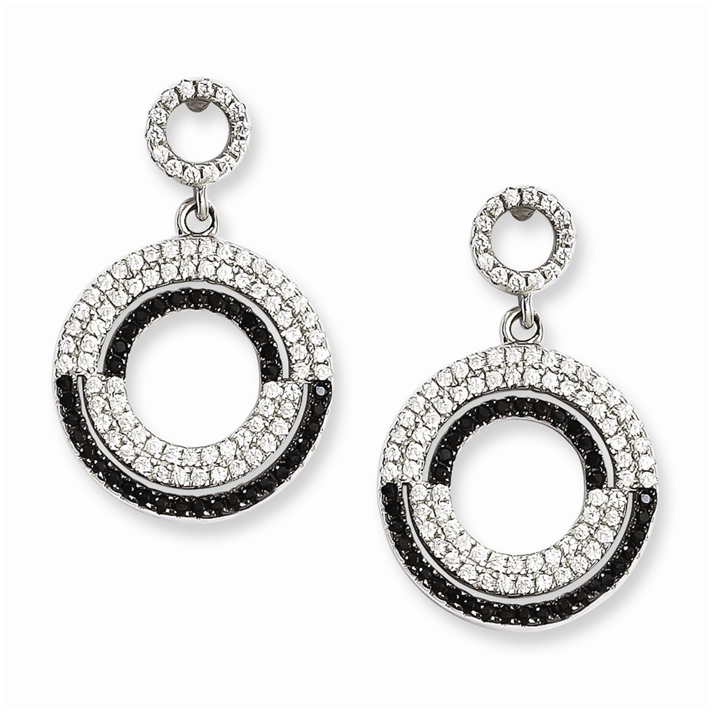 Sterling Silver & CZ Brilliant Embers Circle Dangle Post Earrings