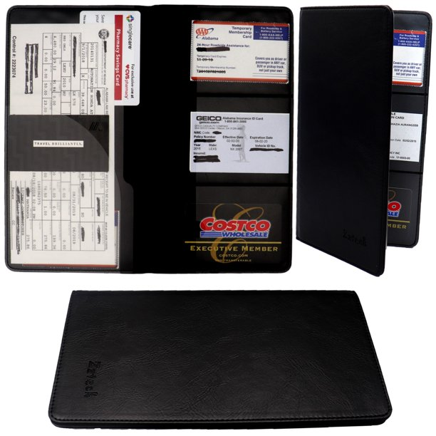 Car Registration and Insurance Holder - PU Leather Vehicle ...
