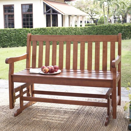 (Coral Coast Amherst Straight Back 4 ft. Outdoor Wood Glider Loveseat - Natural)