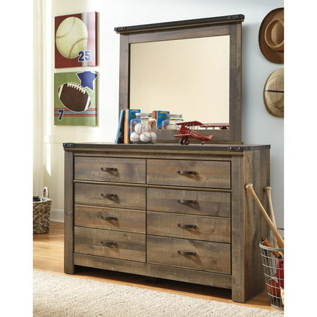 Signature Design by Ashley Trinell 6 Drawer Dresser with Optional (Dresser Metal Mirror)