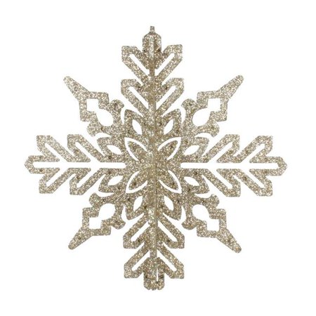 "Vickerman 541135 - 9"" Champagne 3D Glitter Snowflake Christmas Tree Ornament (2 pack) (M187438)"