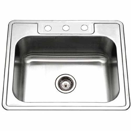 Houzer Glowtone Single Bowl Stainless Steel 3-Hole Sink