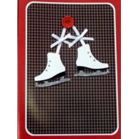 Trimmery Brown Red Ice Skates Christmas Cards