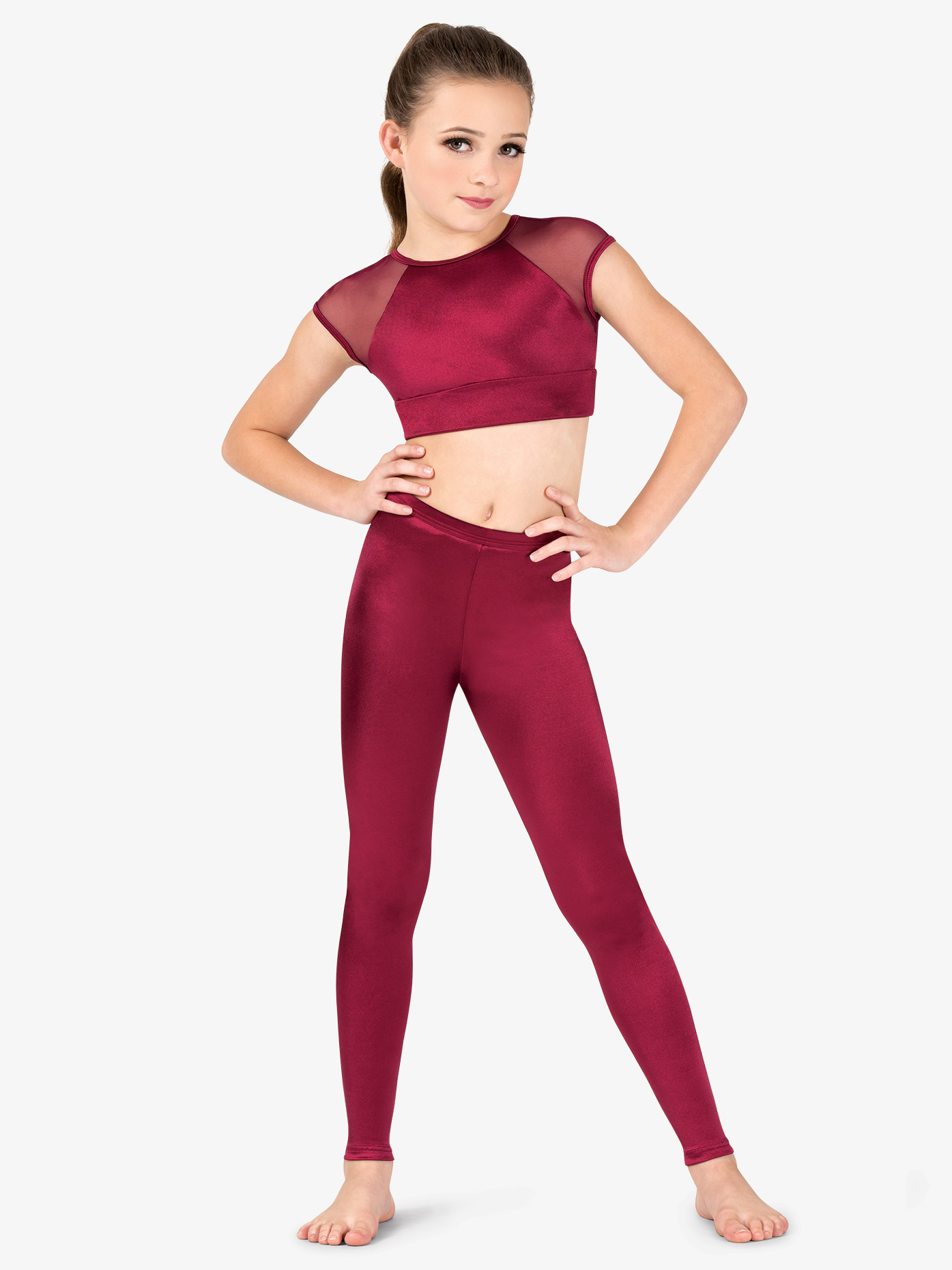 Girls Performance High Waist Satin Leggings