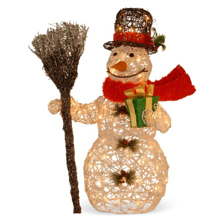 National Tree 27  White Rattan Snowman Holding Gift And Broom With 50 Clear Outdoor Lights