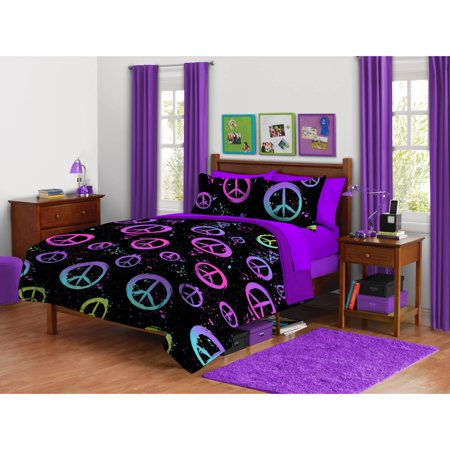 Your Zone Peace Splatter Bedding Comforter Set, 1 Each ...