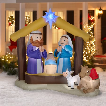 airblown inflatables 7 ft starlit nativity scene prelit - Pre Lit Polar Bear Christmas Decoration Set Of 3