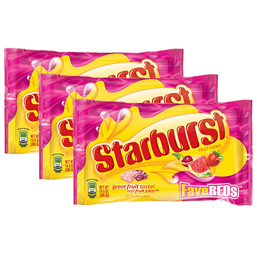 (3 Pack) Starburst, FaveREDs Fruit Chews Candy, 14 Oz