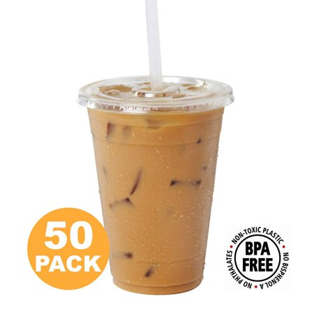 Clear Plastic Cups With Flat Slotted Lids for Iced Cold Drinks 16oz, Disposable, Medium Size [50 Pack]