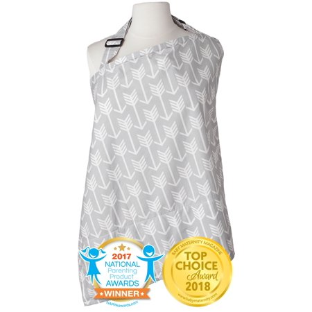 Kids N' Such Nursing Cover with Patented Sewn In Burp Cloth for Breastfeeding Infants - FREE Matching Pouch- Best Apron Cover Up for Breast Feeding Babies - Covers Up Newborns in Public - Grey